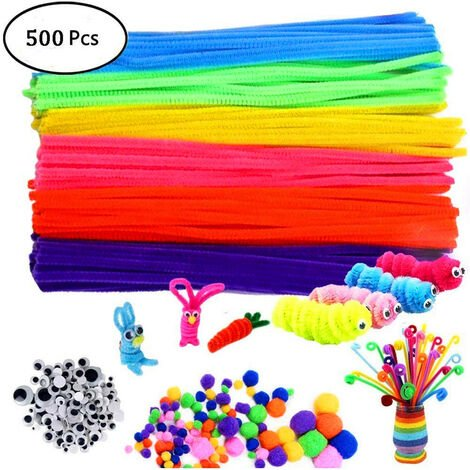 Pipe Cleaners Crafts Set, Tuyaux Chenille et Pompoms avec Googly Eyes et bâtonnets Craft Assortiment de Couleurs Feutre de Tissu en Feutre Non tissé pour Bricolage 500 Pièces