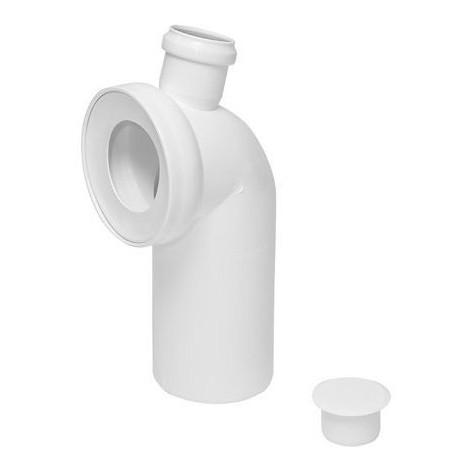 Pipe coudée de WC, diamètre 110 / 90 mm avec piquage (50)