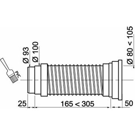 Pipe de WC courte articulée souple Diam.9.3 cm WIRQUIN