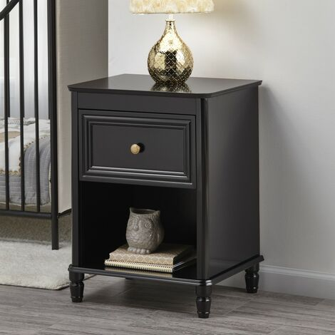 """main image of """"Piper Bedside Cabinet Nightstand Table Black Childrens Victorian Style"""""""