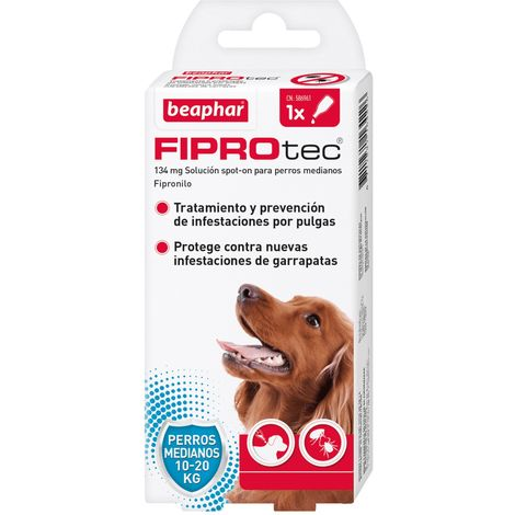 Pipeta antiparasitaria Beaphar Fiprotec Spot On Perros Medianos (10-20 kg) - 1 pipeta