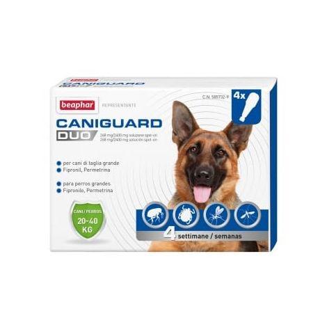 Pipetas Antiparasitarias Caniguard Duo L para perros grandes (20 a 40 kg) - Fipronilo y Permetrina - 4 pipetas