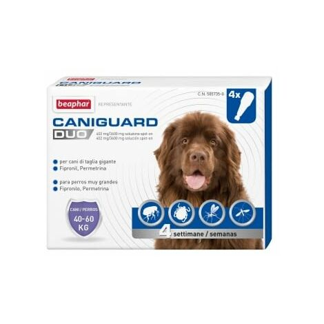 Pipetas Antiparasitarias Caniguard Duo XL para perros grandes (40 a 60 kg) - Fipronilo y Permetrina - 4 pipetas