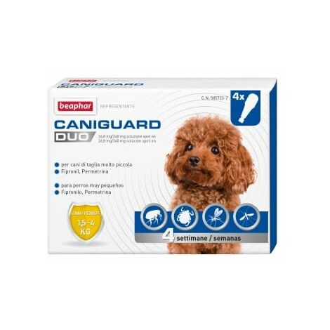 Pipetas Antiparasitarias Caniguard Duo XS para perros mini (1'5 a 4 Kg) - Fipronilo y Permetrina - 4 pipetas