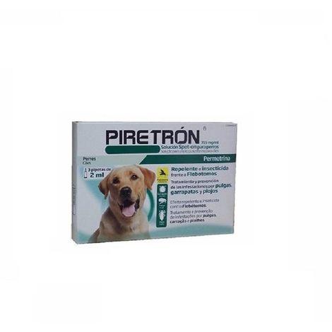 Pipetas Antiparasitarias PIRETRON para perros medianos o grandes (+15 Kg) anti pulgas, garrapatas y flebotomos - 3 Pipetas