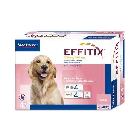 Pipetas EFFITIX L Para Perros Grandes (20 a 40 kg) Anti Parásitos, Pulgas, Garrapatas y Flebotomos - Caja 4 pipetas