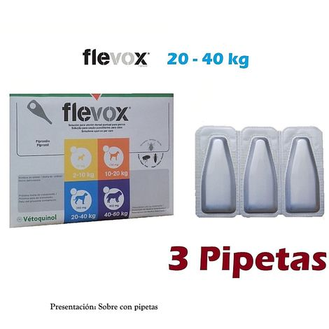Pipetas FLEVOX para perros 20-40Kg anti pulgas y garrapatas - 3 Pipetas