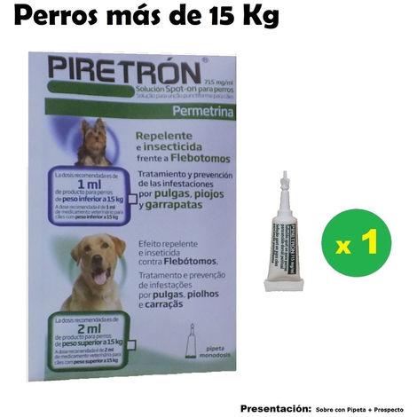 Pipetas PIRETRON para perros +15 Kg anti pulgas, garrapatas y flebotomos - 1 Pipeta