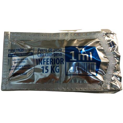 Pipetas PIRETRON para perros -15Kg anti pulgas, garrapatas y flebotomos - 1 Pipeta