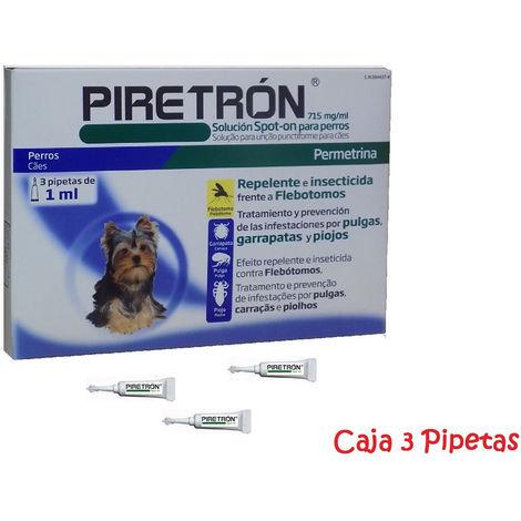 Pipetas PIRETRON para perros pequeños (-15Kg) anti pulgas, garrapatas y flebotomos - 3 Pipetas