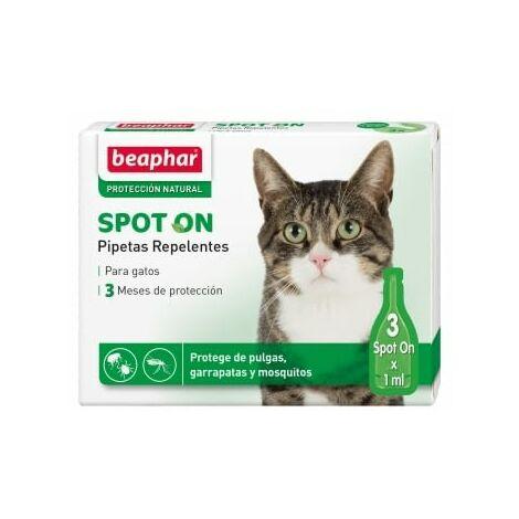 Pipetas Repelentes para Gatos - Anti Pulgas, Garrapatas y Mosquitos - 3 pipetas de 1 ml - Ref. BEA10617