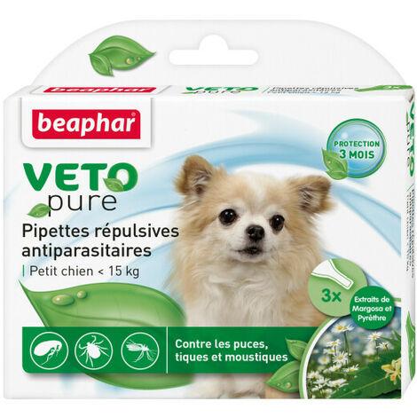 Pipettes répulsives antiparasitaires aux extraits de Margosa et Pyrèthre Petit chien < 15 kg 3 pipettes de 1 ml