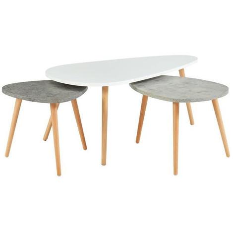 design de qualité 5db59 dfc9b PIPPA 3 tables gigognes scandinave - Blanc / gris clair et gris foncé mat -  L 100 x l 60 cm / L 60 x l 45 cm et L 45 x l 45 cm