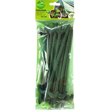 Piquet polypropylène d'ancrage de jardin Catral - Longueur 24 cm - Vendu par 10 - Vert