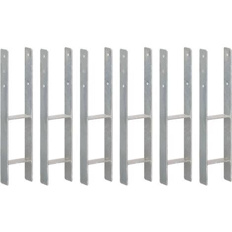 Piquets de clôture 6 pcs Argenté 12x6x60 cm Acier galvanisé