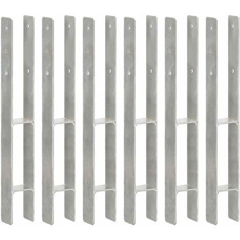 Piquets de clôture 6 pcs Argenté 7x6x60 cm Acier galvanisé