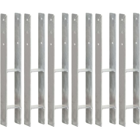 Piquets de clôture 6 pcs Argenté 8x6x60 cm Acier galvanisé