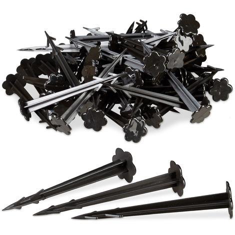 Piquets de fixation sol en plastique, clous, lot de 100, sardines, jardin, tente, fixation terre 11,5 cm, noir