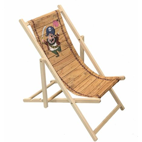 Pirate - Wooden Folding Decking Chair for Kids Outdoor Garden Patio Balcony Camping