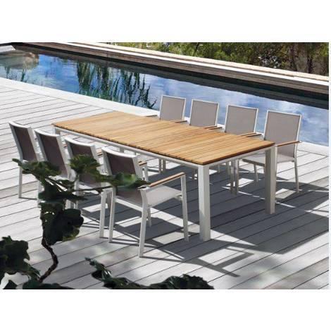 Pircher Table de jardin Cube 200x100 cm en aluminium peint en blanc et bois  de teck | Legno