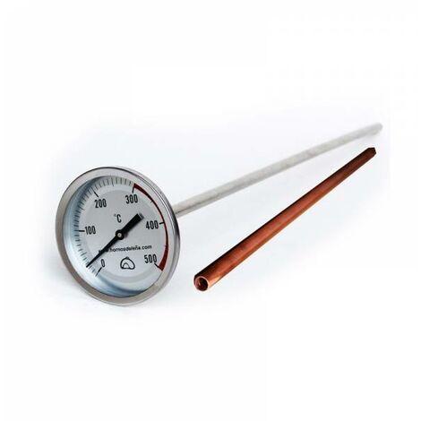 Pirómetro Profesional Extra-largo para horno de obra de 50 cm con VAINA de protección de COBRE