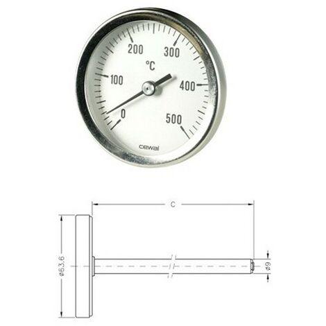 Pirometro Termometro 0-500° bimetallico forno stufa camino barbecue 15 cm cewal