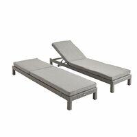 Pisa Set Of 2 Rattan Sun Loungers Grey Charcoal Grey