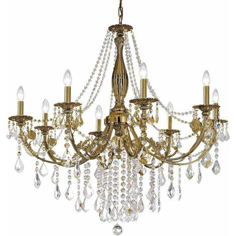 PISANI CRYSTAL crystal chandelier in antique brass 8 lights