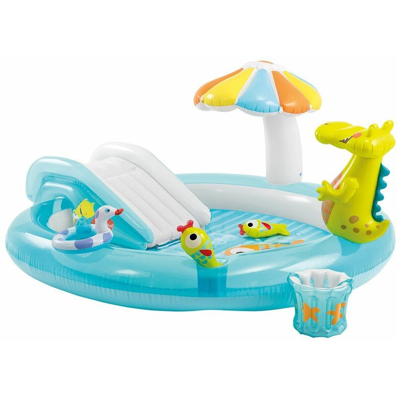 Piscina Con Scivolo Alligatore Per Bambini Intex Gonfiabile Gioco Da Giardino 41006mm