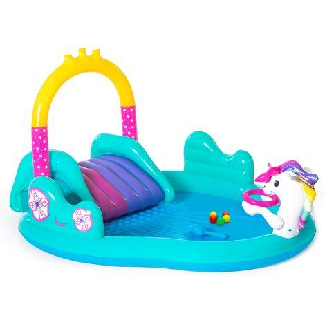 Piscina de actividades para + 2 años turquesa de PVC infantil de 274x198x137 cm