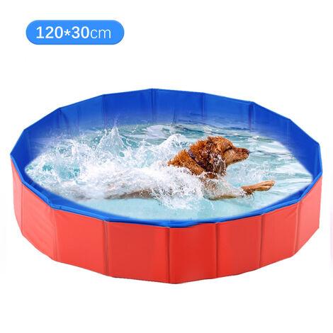 Piscina de bano para mascotas plegable, tubo de bano para mascotas, rojo azul, 120x30cm