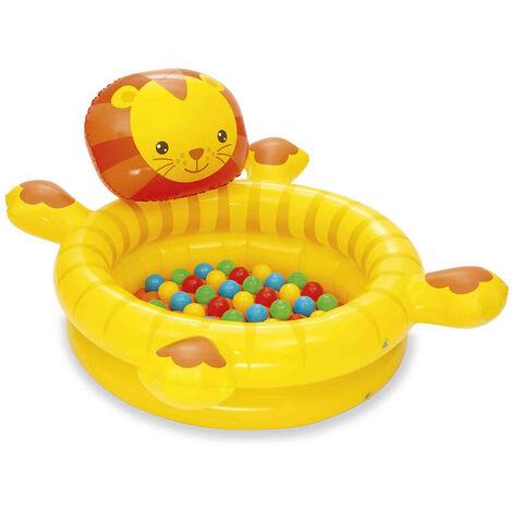 Piscina de Bolas Hinchable Infantil León con 50 Bolas de Colores Bestway 111x98x61,5 cm - 52261