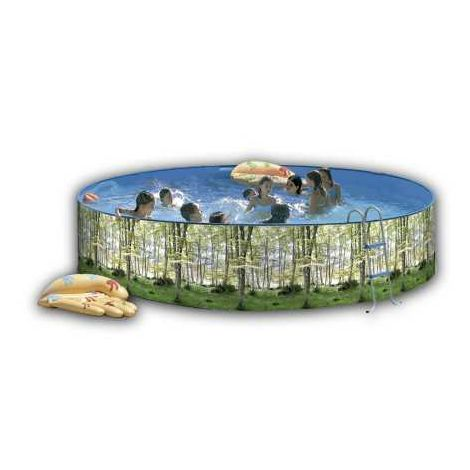 Piscina desmontable redonda decorada modelo bosque