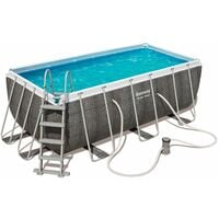 Piscina Desmontable Tubular Bestway Power Steel Diseño Rattan 412x201x122 cm - 56722 - BESTWAY