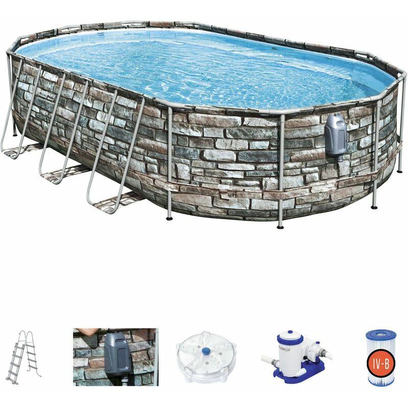 Piscina Desmontable Tubular Bestway Power Steel Oval Diseño Piedra 610x366x122 cm con Depuradora Cartucho 9.463 L/H con Escalera