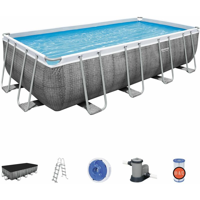 Piscina Desmontable Tubular Bestway Power Steel Ratán 549x274x122 cm con Depuradora Cartucho 5.678 L/H con Cobertor y Escalera