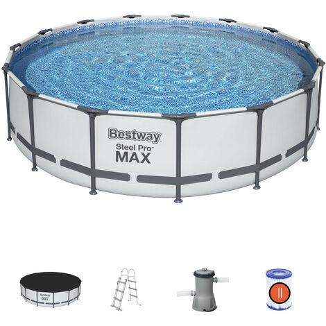 Piscina Desmontable Tubular Bestway Steel Pro Max 457x107 cm con Depuradora Cartucho 3.028 L/H Cobertor y Escalera