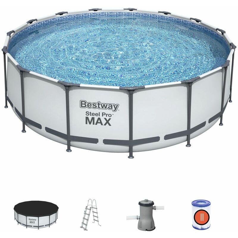 Piscina Desmontable Tubular Bestway Steel Pro Max 457x122 cm con Depuradora Cartucho 3.028 L/H Cobertor y Escalera