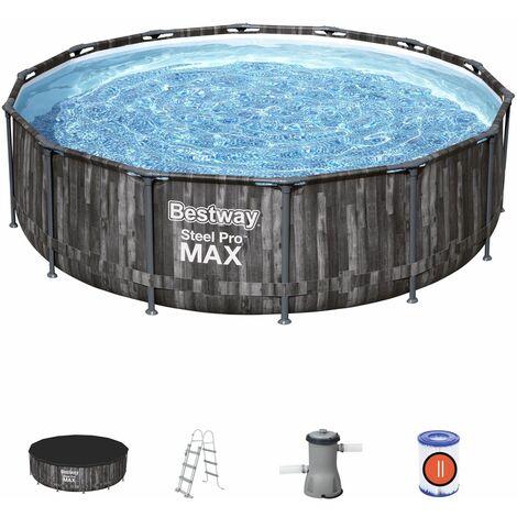 Piscina Desmontable Tubular Bestway Steel Pro Max Diseño Madera 427x107 cm Depuradora Cartucho 3.028 L/H, Cobertor y Escalera