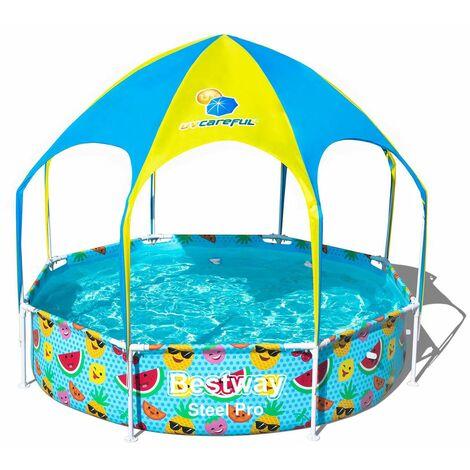Piscina Desmontable Tubular Infantil Bestway Splash-In-Shade 244x51 cm con Parasol - 56432