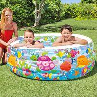 Piscina Gonfiabile Rotonda per Bambini Baby Acquario 3 Anelli 152x56cm Intex