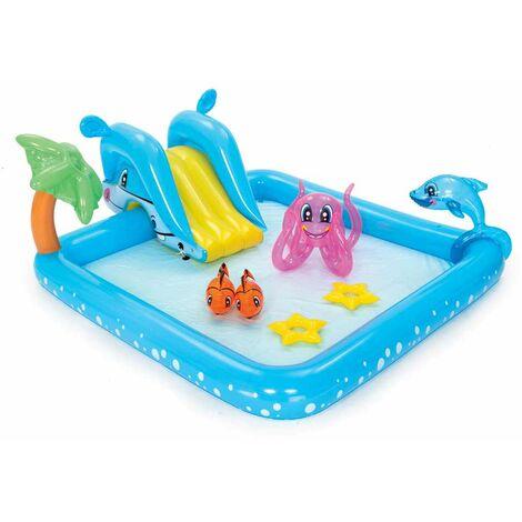 Piscina Hinchable Infantil Bestway centro de juegos Acuario Fantástico 239x206x86cm