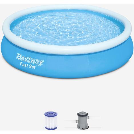 Piscina hinchable portátil azul BESTWAY - Jade ⌀ 360 x 76cm - piscina redonda con filtro de cartucho y 2 cartuchos incluidos - Azul