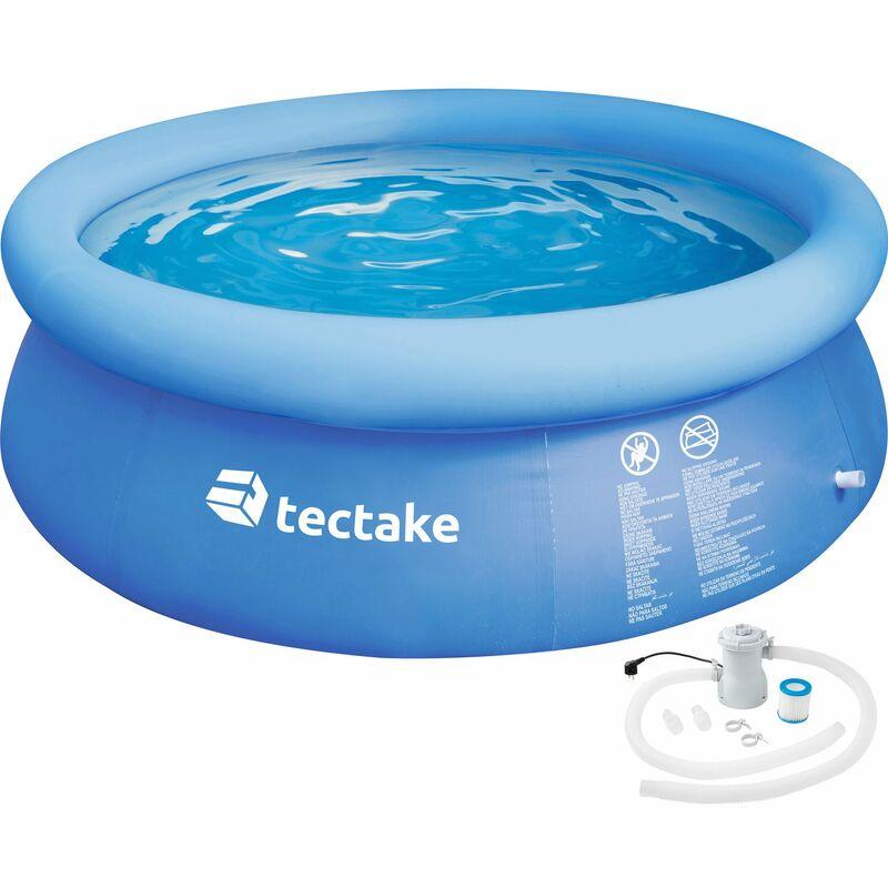 Tectake - Piscina hinchable redonda con depuradora Ø 300 x 76 cm - piscina portátil inflable estable, piscina para jardín con desagüe rápido, piscina