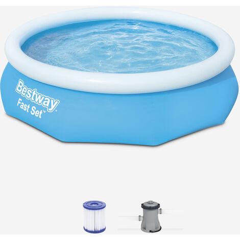Piscina inflable BESTWAY azul - Diamante - 300x76cm - redonda con filtro - Azul