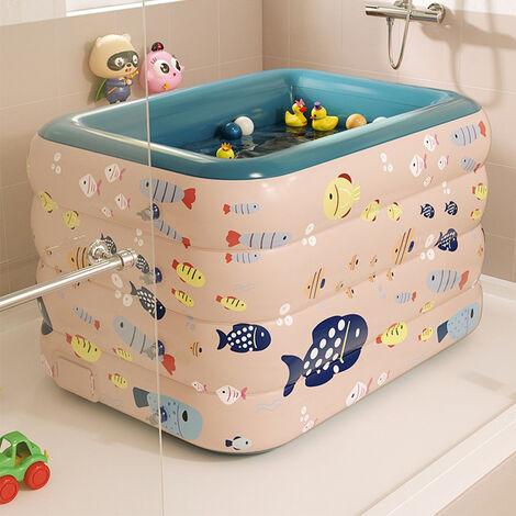 Piscina inflable para niños, piscina infantil de PVC, bañera, piscina de jardín, inflado automático inalámbrico, 120 cm,Rosa
