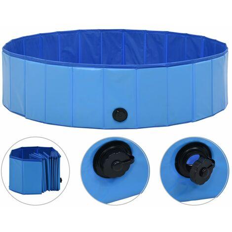 Piscina para perros plegable PVC azul 120x30 cm