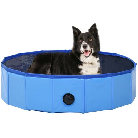 Piscina para perros plegable PVC azul 80x20 cm