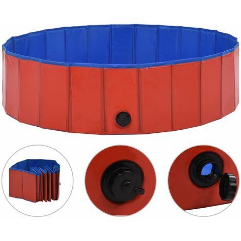 Piscina para perros plegable PVC rojo 120x30 cm