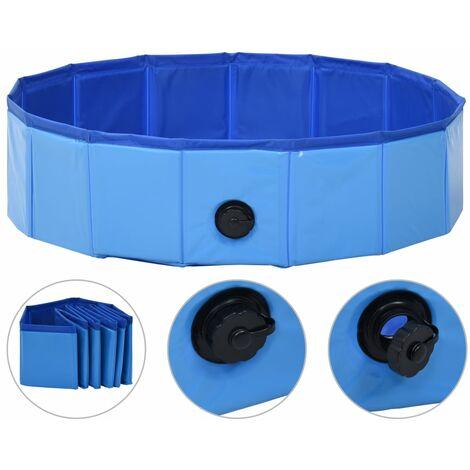 Piscina per Cani Pieghevole Blu 80x20 cm in PVC